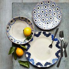 westelm, dinner plates, tile patterns, decorative plates, glaze terracotta, dinnerwar set, hello summer, deep blue, west elm