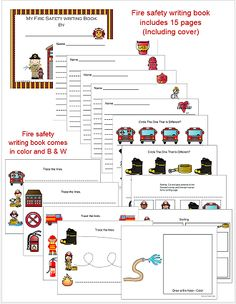 Fire Safety Themed Uppercase and Lowercase cards added to 1 - 2 - 3 Learn Curriculum. Also includes a fire safety writing book. Includes fire safety vocabulary words to use in your writing center. Both in color and B & W.  fire, fireman, fire truck, fire hydrant, dog, hat, ladder, badge, hose, ax, fire drill, smoke alarm. Thank you for viewing and pinning Jean 1 - 2 - 3 Learn Curriculum