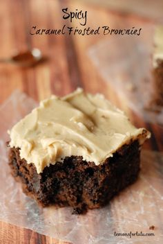 A rich chocolate brownie with a sweet and spicy caramel frosting www.lemonsforlulu.com