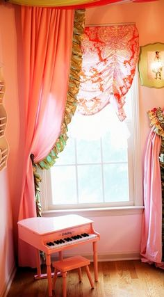 ryleigh room, room girl, panel pair, girl room, piano, draperi panel, color, roman shade, addison draperi