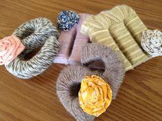 Yarn-wrapped cardboard letters