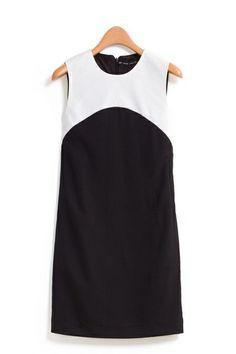 O-neck Sleeveless White Black Color Block Chiffon Dress