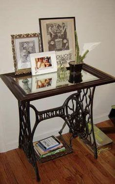 reuse old sewing table Sewing table legs with framed glass or mirror