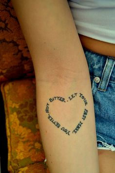 Meaningful words in the shape of a heart. A nice concept for a post-mastectomy tattoo [p-ink.org].