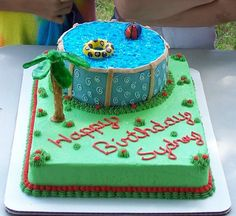 This was done for my daughter's birthday party.  We have an above ground pool and that is what she wanted for her cake!