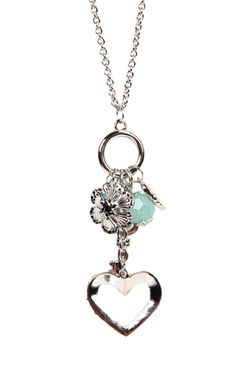 Deb Shops long #necklace with stone #heart and charms