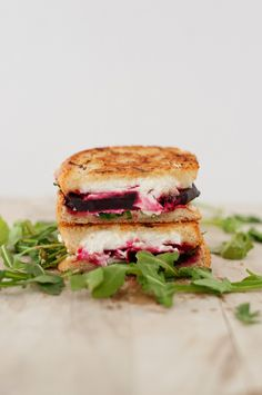 Roasted beets, goat cheese and arugula grilled cheese sandwich. Looks amazing.