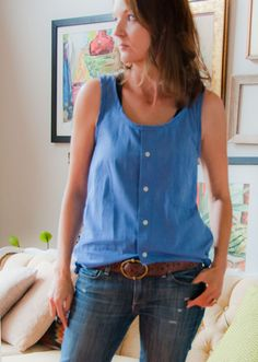 Great tutorial for a Racerback Tank refashioned from a dress shirt