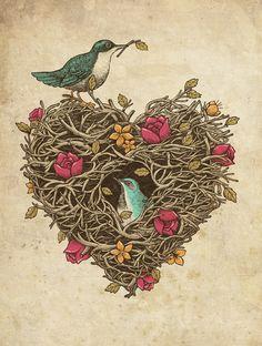 vintage heart, valentine day, wedding ideas, art prints, bird nests, illustration art, tattoo, feather, animal artwork