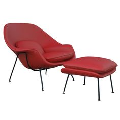 Saarinen Red Leather Womb Chair & Ottoman