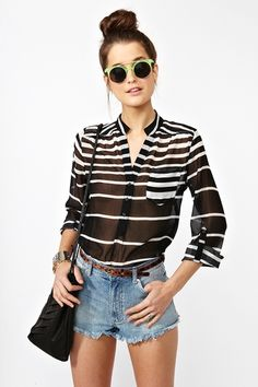 Sheer striped button up, shorts