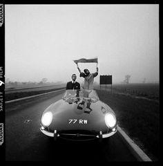 E-Type Jaguar On The M1 Motorway Soon After It Opened    photo by Brian Duffy, 1960