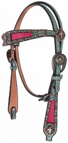 Turquoise Gator  Pink Hair Headstall by Double J Saddlery