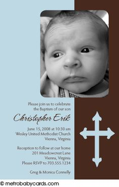 Photo Baptism/Christening Invitations :: Blessed Blue Design