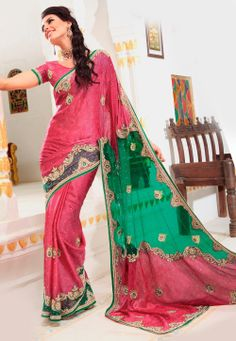 Pink and Green Faux Chiffon Jacquard and Net Saree with Blouse @ $274.62