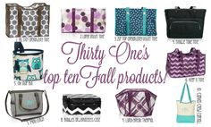 The top ten selling #thirtyone products from the new fall catalog were just announced! I think I need one or several of the Oh Snap bins! And a Keep it Tote. Then I will be happy! For a week at least.
