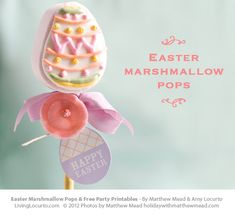 Easter Marshmallow Pops & Free Printable Tags by @Matthew Mead & Amy Locurto LivingLocurto.com