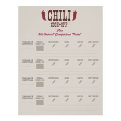 Chili Cook Off Voting Ballot Sheet Template