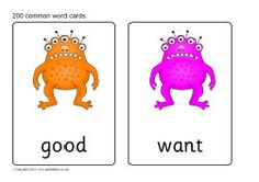 Alien monster 200 common word flash cards