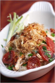 Sticky rice with  chinese sausage, shredded roast chicken. Dried Shrimp and Char Sui