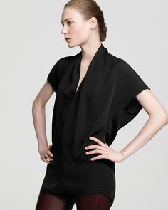 vince | drape neck silk top