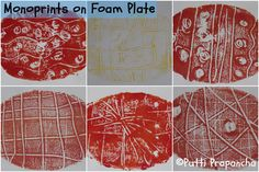 Make some lovely prints for Easter on a oval foam lunch plate.