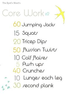 Core work plan! Get strong!