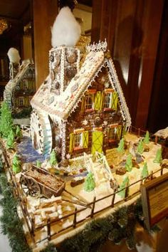 Designed by San Diego chefs, designers and artists, this traditional German gingerbread house includes a scene complete with a wagon, water wheel, stone walkway and even shrubbery. It was also created for a charitable cause.