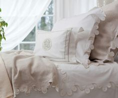 Julia B. - Bedding - Calais Oatmeal Linen with White Embroidery and White Percale with Oatmeal Embroidery
