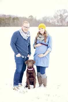 Rustic and snowy maternity session! Maternity session with dog.  Christina Stallard Photography