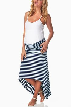 Mint-Green-Navy-Striped-Hi-Low-Maternity-Skirt #maternity #fashion