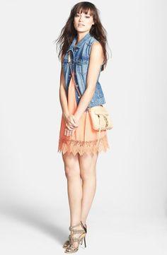 Perfect match! Coral crochet hem shift dress with a cute denim vest.