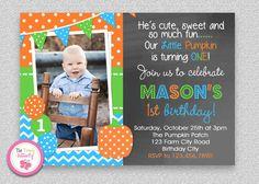 Boys Pumpkin Birthday Invitation  Boys 1st Birthday Invitation #TheTrendyButterfly #bluegreen #pumpkin #halloween
