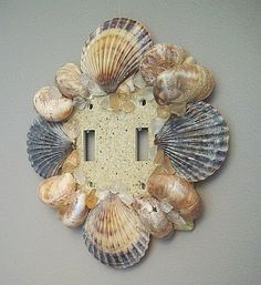 Beach Decor Seashell Double Switch Plate  Cover with Scallop and Slipper shells, sea glass & sand.