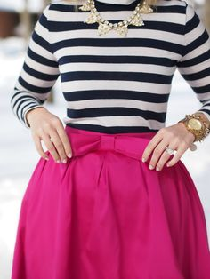 statement necklaces, color combos, pink bow, outfit, bow skirt, closet, the navy, bold colors, stripe