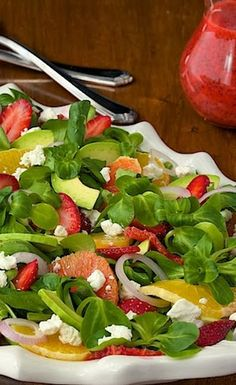 Citrus, Strawberry & Avocado Salad with Strawberry Poppy Seed Dressing