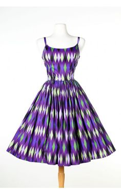 Jenny Dress in Purple and Green Harlequin Print
