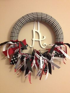"Collegiate Sports Wreath ""Alabama Houndstooth"" but can be made to represent any team! $30.00 plus shipping"