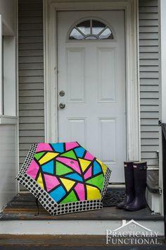 So cute! Just add paint to turn a boring umbrella into a neon color block umbrella!