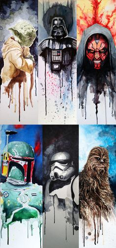 This is awesome art, just amazing! Especially when Star Wars is the subject (; Yoda, Darth Vader, Darth Maul, Bobba Fett, Stormtrooper, Chewbacca Wookie nerd stuff, star wars painting, fan art, darth vader, star wars art, geeky paintings, darth maul, starwars painting, man caves