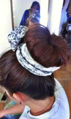 Sockbun with scarf hairstyle
