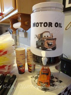 Cars Party - Motor Oil...do without mater for regular car theme @melforshey