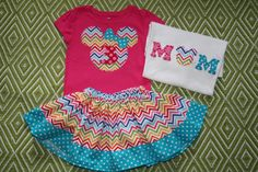 Disney World - Cruise shirt for the kids and for mom!  I LOVE the chevron!  Girls Disney Vacation Outfit Minnie Mouse by mylittlelegacies
