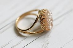 peach druzy ring by nonnasoul