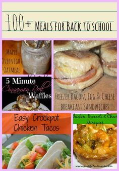 100+ meals that are great for back to school. Breakfasts, snacks, lunch and dinner meals that include #freezermeals, #crockpot meals and more for back to school. #waffles #tacos #sides #meals #recipes #veggies #dinner #breakfast #snacks #lunch #meat #backtoschool #freezercooking #easyrecipes #oatmeal #lunchbox