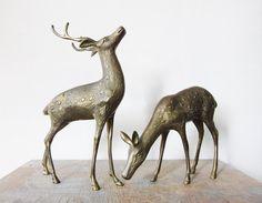 Vintage Brass Deer Figurines