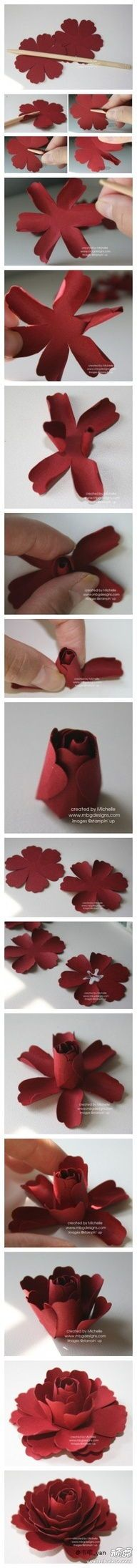 paper roses, paper flowers, red roses, flower tutorial, diy, inspiring pictures, cut flowers, paper crafts, blossoms