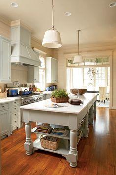 kitchen love decor, kitchens, idea, cabinet color, colors, kitchen design, coastal living, hous, kitchen islands