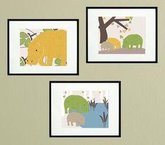 Nursery hippo art wall art print custom by pitterpatterpress, $20.00