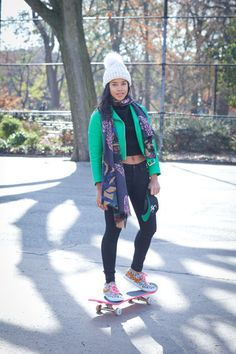 The Cools x Bobbi Brown Host A Pretty Powerful Skateboard Lesson - Hannah Bronfman makes a statement in a bright green Acne jacket, and mixes prints with a fun scarf and Dee and Ricky x Pony sneakers.